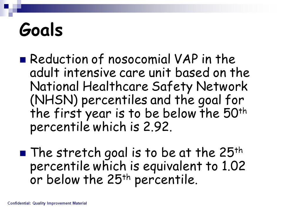 Goals Reduction of nosocomial VAP in the adult intensive care unit based on the National Healthcare Safety Network (NHSN) percentiles and the goal for the first year is to be below the 50 th percentile which is 2.92.