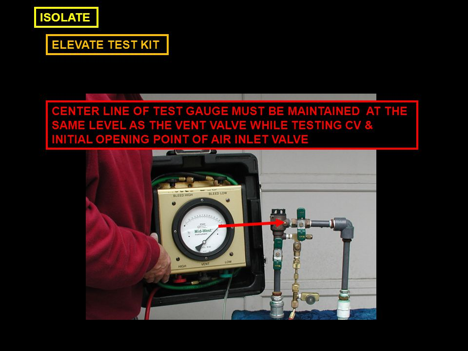 ELEVATE TEST KIT ISOLATE CENTER LINE OF TEST GAUGE MUST BE MAINTAINED AT THE SAME LEVEL AS THE VENT VALVE WHILE TESTING CV & INITIAL OPENING POINT OF