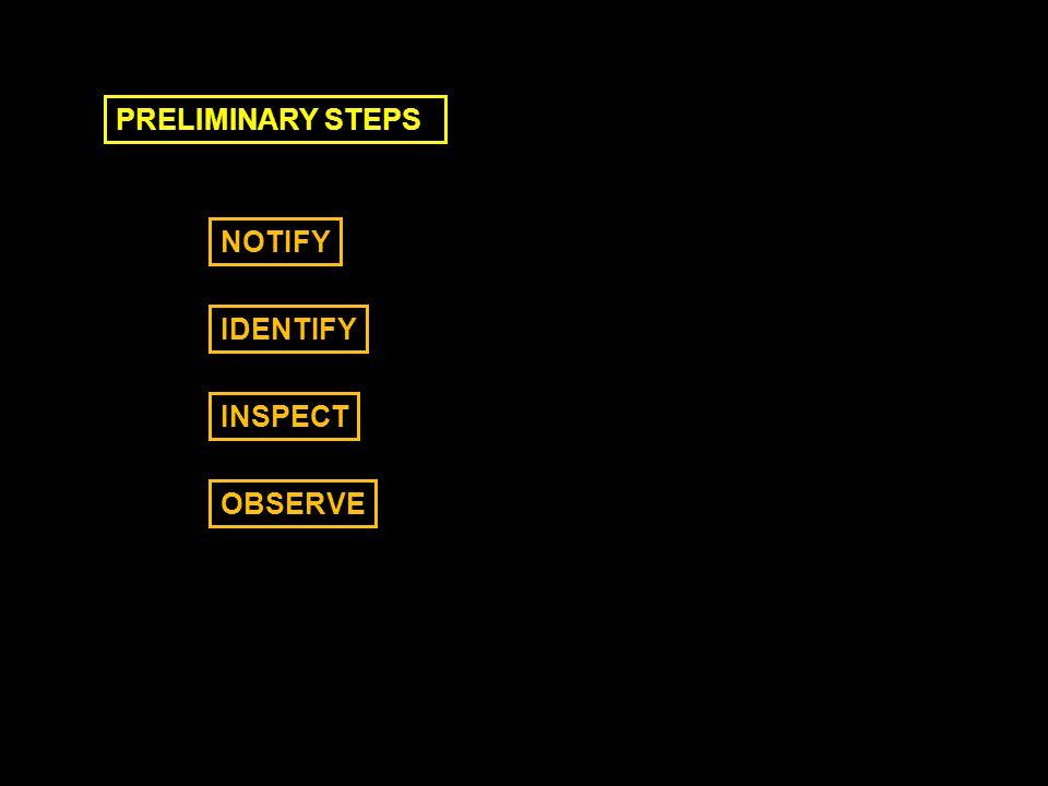 PRELIMINARY STEPS NOTIFY IDENTIFY INSPECT OBSERVE