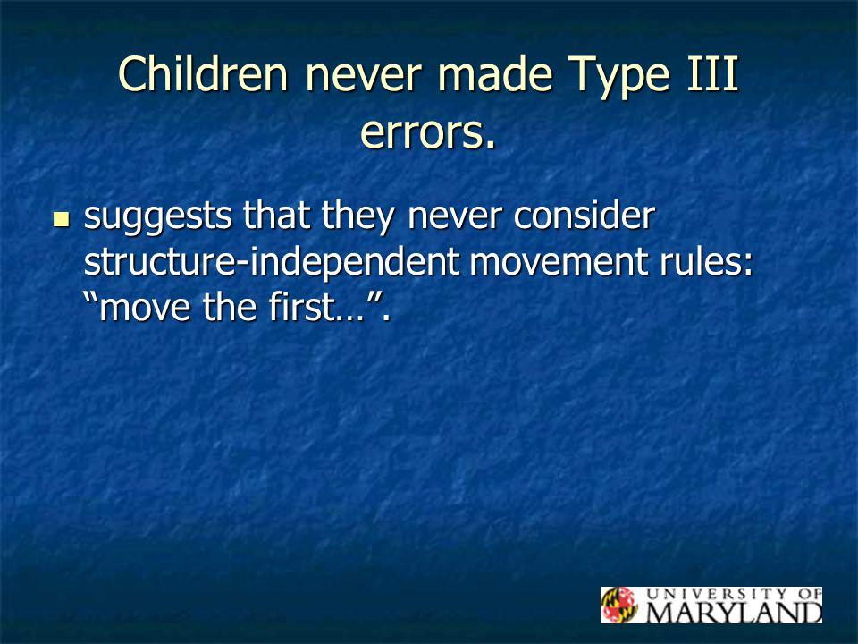 Children never made Type III errors.