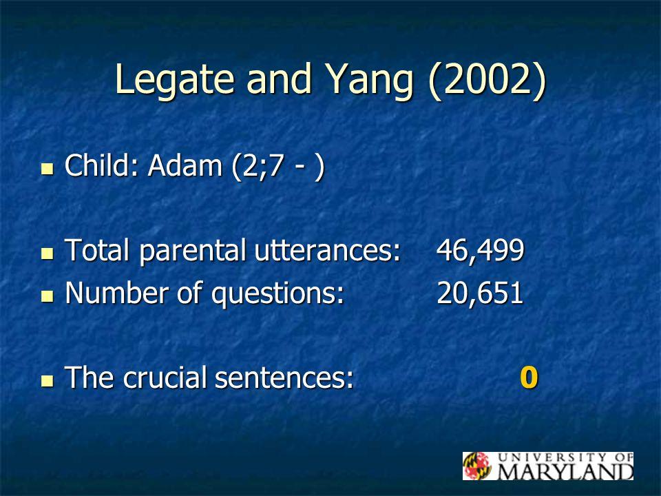 Legate and Yang (2002) Child: Adam (2;7 - ) Child: Adam (2;7 - ) Total parental utterances:46,499 Total parental utterances:46,499 Number of questions:20,651 Number of questions:20,651 The crucial sentences: 0 The crucial sentences: 0