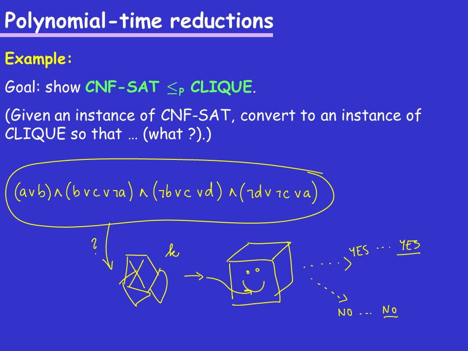 NP-complete and NP-hard: how to prove Given: a problem Suspect: polynomial-time algorithm unlikely Want: prove that the problem is NP-hard or NP-complete (thus a polynomial-time algorithm VERY unlikely) How to prove this .