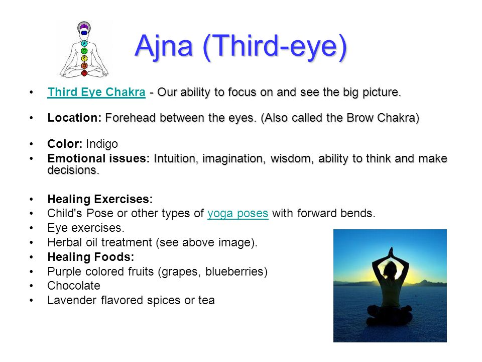 Ajna (Third-eye) - Our ability to focus on and see the big picture.Third Eye Chakra - Our ability to focus on and see the big picture.Third Eye Chakra