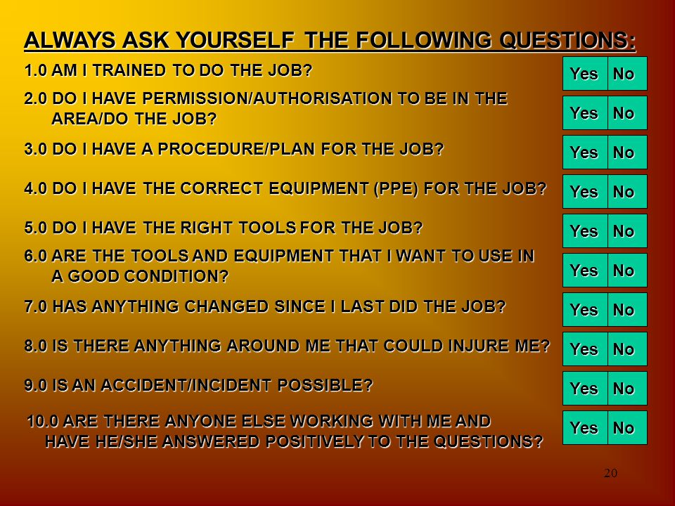20 ALWAYS ASK YOURSELF THE FOLLOWING QUESTIONS: 1.0 AM I TRAINED TO DO THE JOB? Yes No 2.0 DO I HAVE PERMISSION/AUTHORISATION TO BE IN THE AREA/DO THE