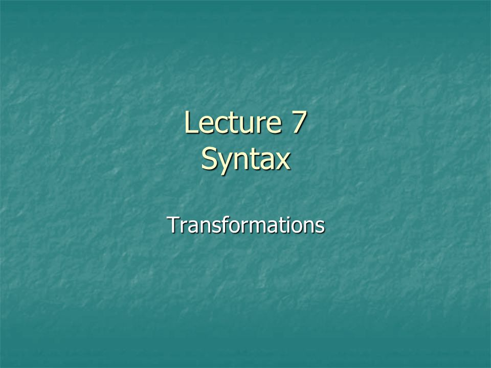 Assignment for next week Minimalist Syntax