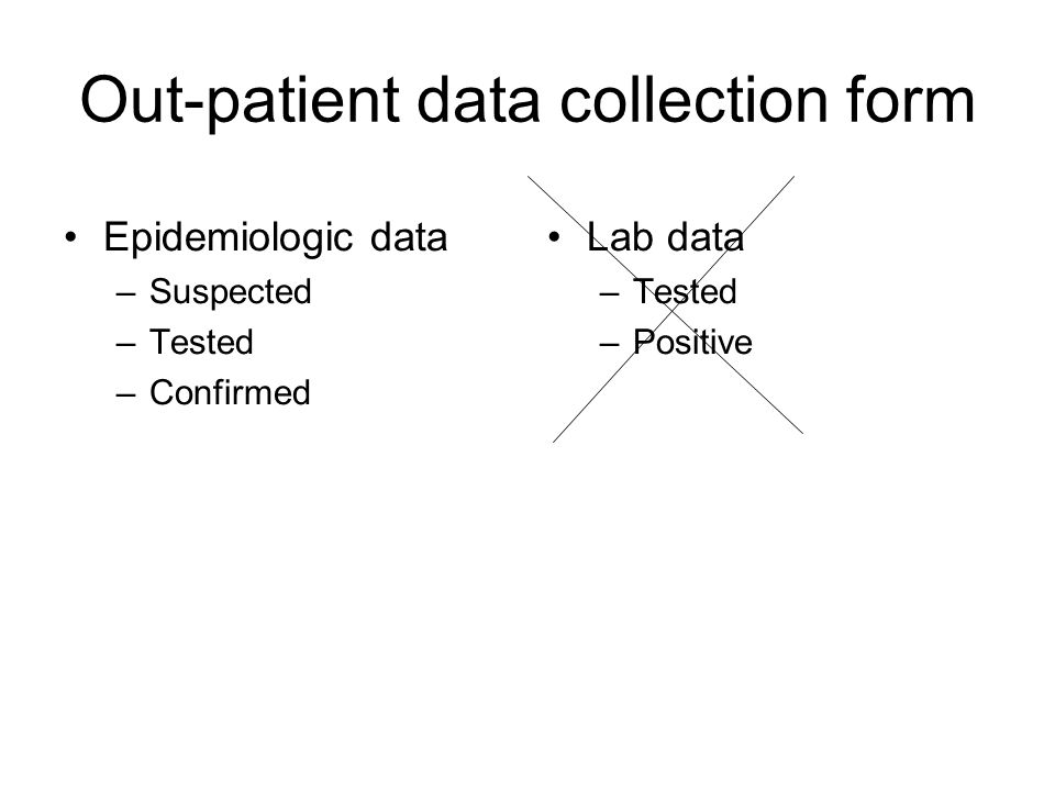 Out-patient data collection form Epidemiologic data –Suspected –Tested –Confirmed Lab data –Tested –Positive