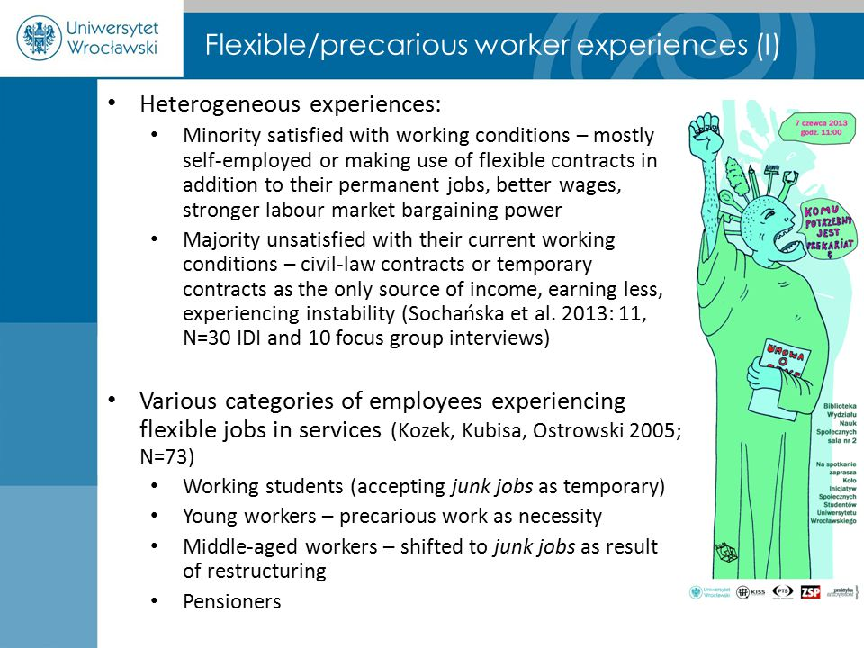 Flexible/precarious worker experiences (I) Heterogeneous experiences: Minority satisfied with working conditions – mostly self-employed or making use of flexible contracts in addition to their permanent jobs, better wages, stronger labour market bargaining power Majority unsatisfied with their current working conditions – civil-law contracts or temporary contracts as the only source of income, earning less, experiencing instability (Sochańska et al.
