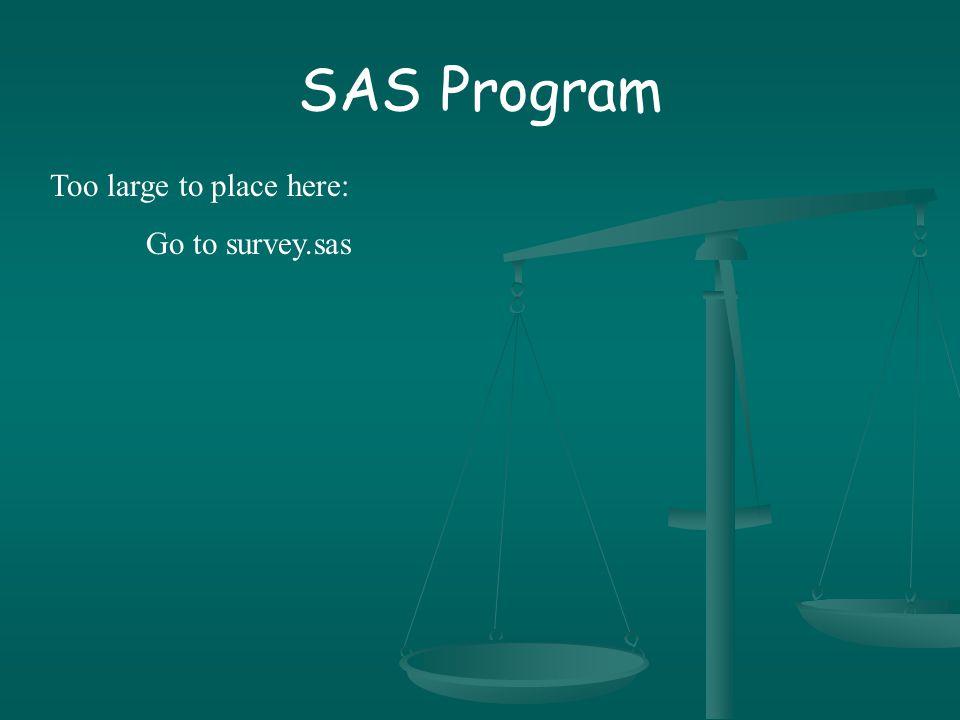 SAS Program Too large to place here: Go to survey.sas