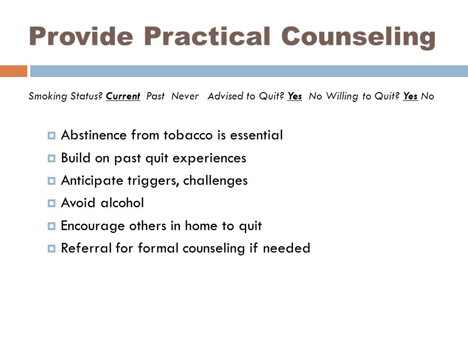 Provide Practical Counseling Smoking Status. Current Past Never Advised to Quit.