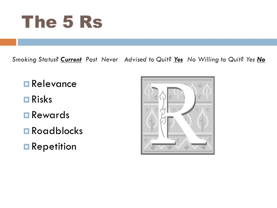 The 5 Rs Smoking Status. Current Past Never Advised to Quit.
