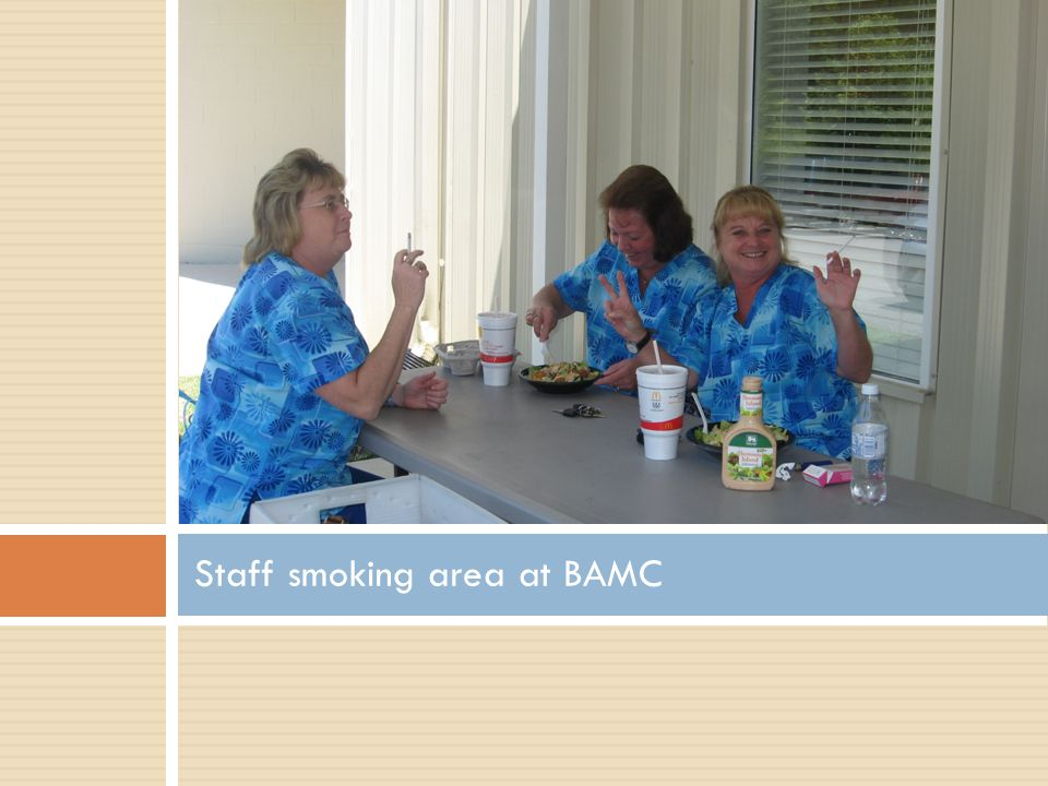 Staff smoking area at BAMC