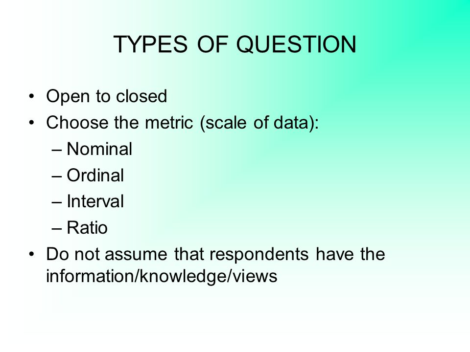 QUESTIONNAIRES CONTAINING FEW VERBAL ITEMS A questionnaire might: –include visual information and ask participants to respond to this (e.g.