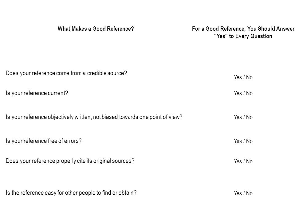 What Makes a Good Reference?For a Good Reference, You Should Answer