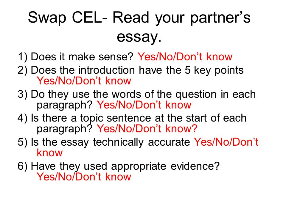 Swap CEL- Read your partner's essay. 1) Does it make sense? Yes/No/Don't know 2) Does the introduction have the 5 key points Yes/No/Don't know 3) Do t