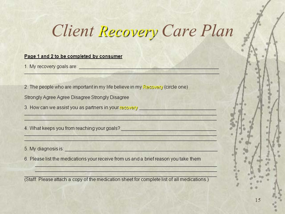 15 Recovery Client Recovery Care Plan Page 1 and 2 to be completed by consumer 1.