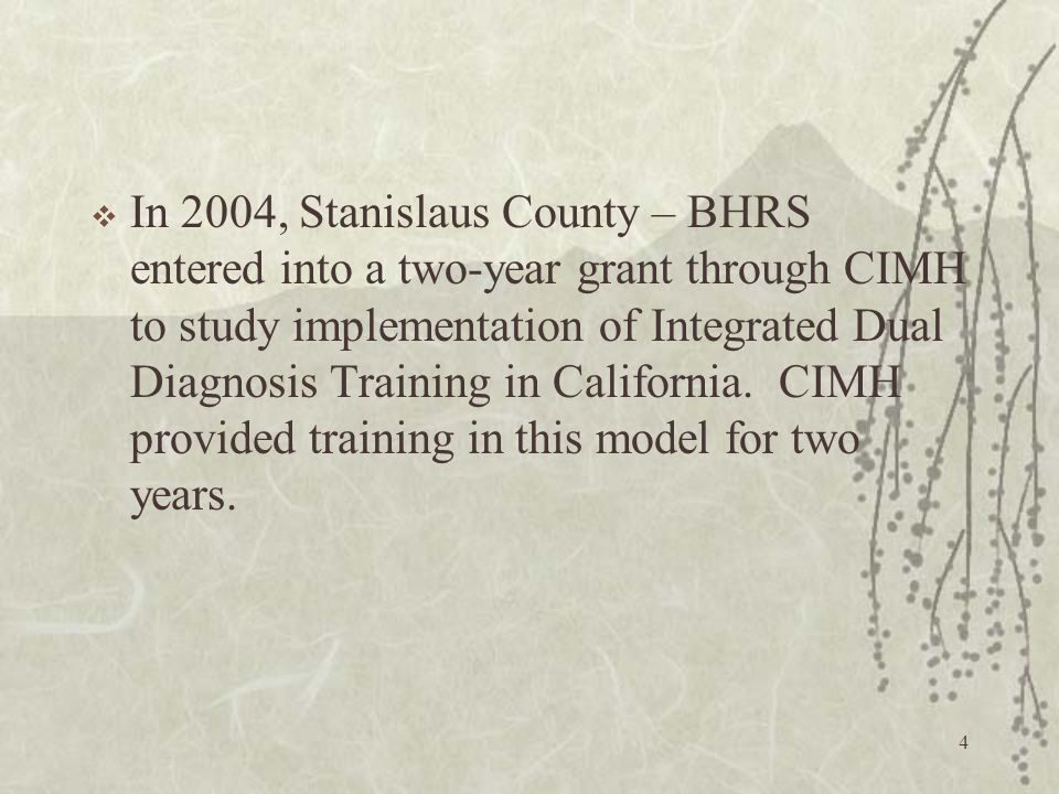 4  In 2004, Stanislaus County – BHRS entered into a two-year grant through CIMH to study implementation of Integrated Dual Diagnosis Training in California.