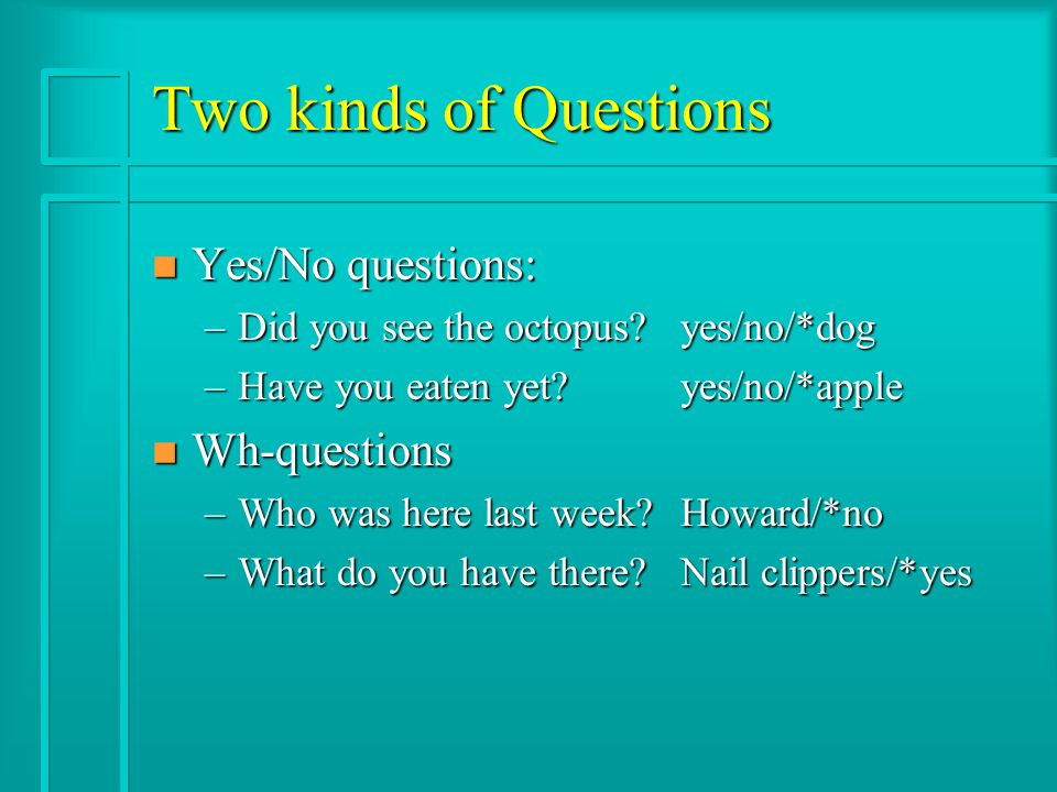 Two kinds of Questions n Yes/No questions: –Did you see the octopus yes/no/*dog –Have you eaten yet yes/no/*apple n Wh-questions –Who was here last week Howard/*no –What do you have there Nail clippers/*yes