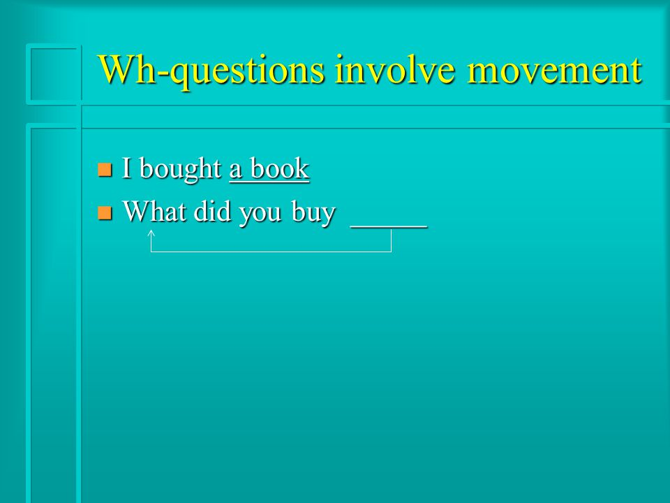 Wh-questions involve movement n I bought a book n What did you buy _____