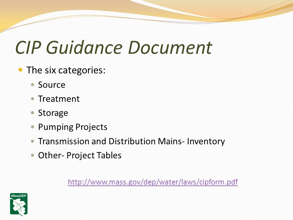CIP Guidance Document The six categories: Source Treatment Storage Pumping Projects Transmission and Distribution Mains- Inventory Other- Project Tables http://www.mass.gov/dep/water/laws/cipform.pdf