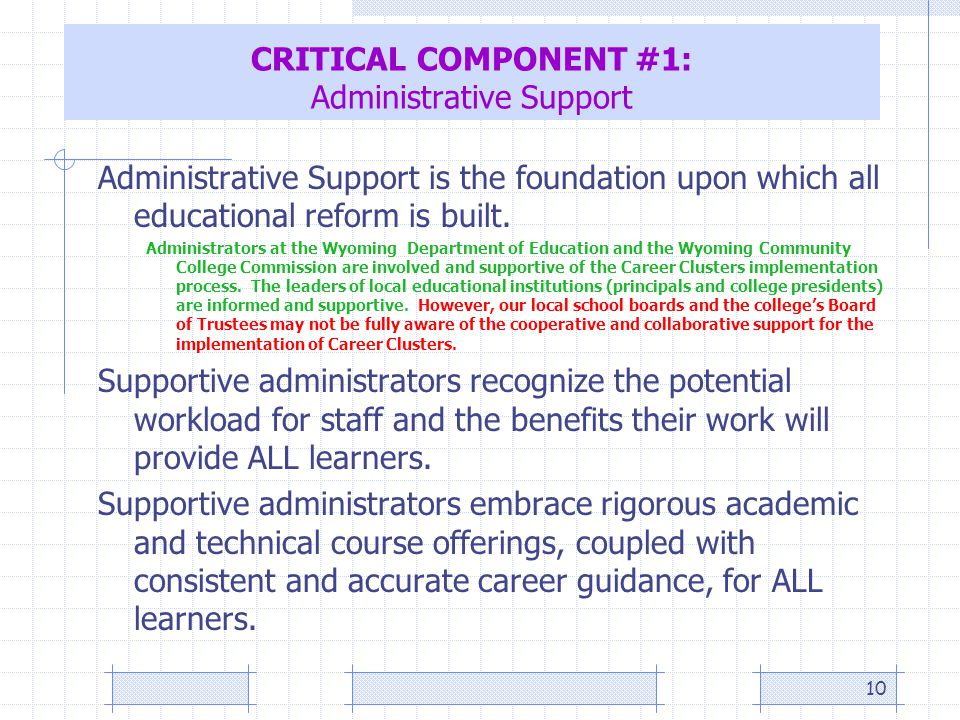 10 CRITICAL COMPONENT #1: Administrative Support Administrative Support is the foundation upon which all educational reform is built.