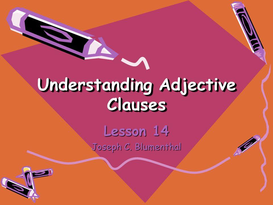 Understanding Adjective Clauses Lesson 14 Joseph C. Blumenthal