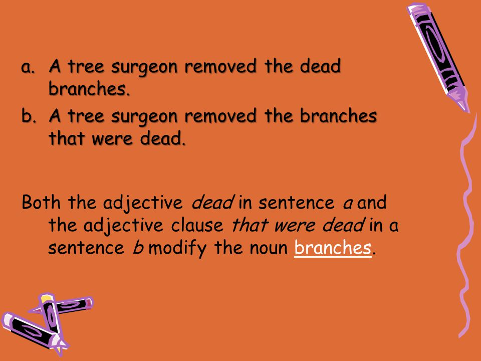 a.A tree surgeon removed the dead branches. b.A tree surgeon removed the branches that were dead. Both the adjective dead in sentence a and the adject
