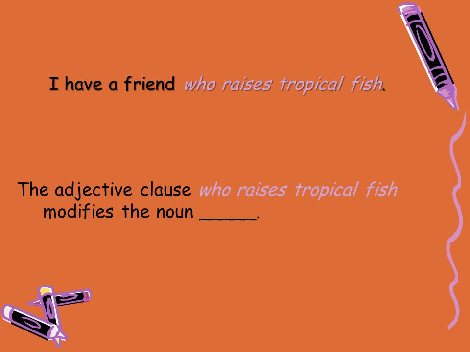 The adjective clause who raises tropical fish modifies the noun _____. I have a friend who raises tropical fish.