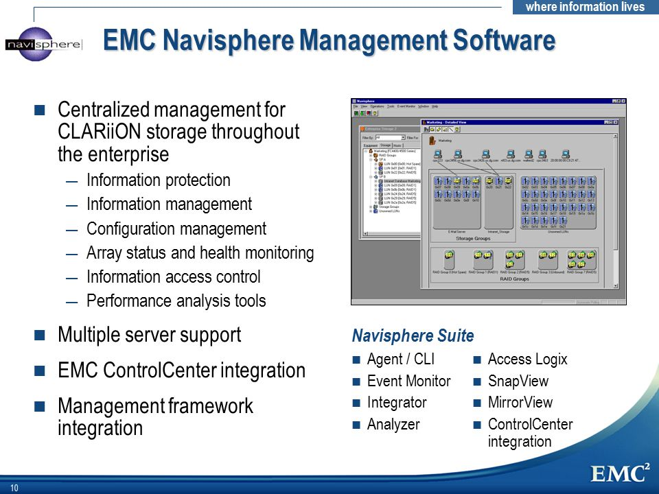 where information lives 10 EMC Navisphere Management Software n Centralized management for CLARiiON storage throughout the enterprise — Information protection — Information management — Configuration management — Array status and health monitoring — Information access control — Performance analysis tools n Multiple server support n EMC ControlCenter integration n Management framework integration n Agent / CLI n Event Monitor n Integrator n Analyzer n Access Logix n SnapView n MirrorView n ControlCenter integration Navisphere Suite