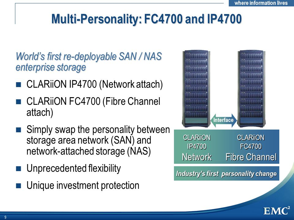 where information lives 9 Industry's first personality change CLARiiON IP4700 Network CLARiiON IP4700 Network CLARiiON FC4700 Fibre Channel CLARiiON FC4700 Fibre Channel Interface Multi-Personality: FC4700 and IP4700 World's first re-deployable SAN / NAS enterprise storage n CLARiiON IP4700 (Network attach) n CLARiiON FC4700 (Fibre Channel attach) n Simply swap the personality between storage area network (SAN) and network-attached storage (NAS) n Unprecedented flexibility n Unique investment protection