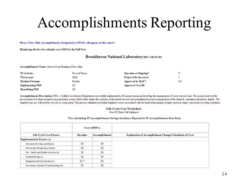 14 Accomplishments Reporting