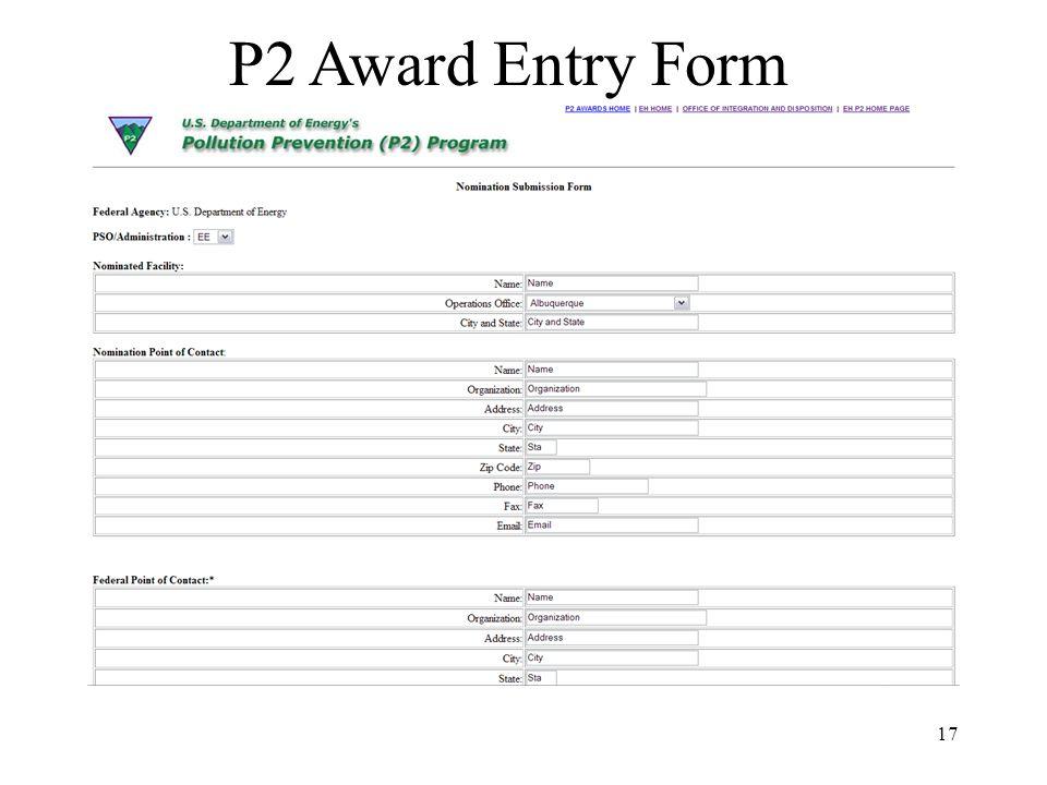 17 P2 Award Entry Form