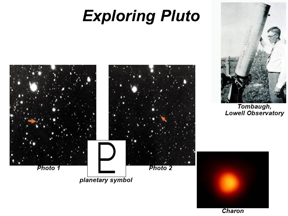Exploring Pluto Tombaugh, Lowell Observatory Charon Photo 1Photo 2 planetary symbol