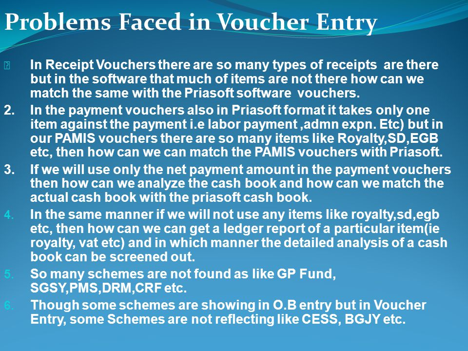 Problems Faced in Voucher Entry In Receipt Vouchers there are so many types of receipts are there but in the software that much of items are not there