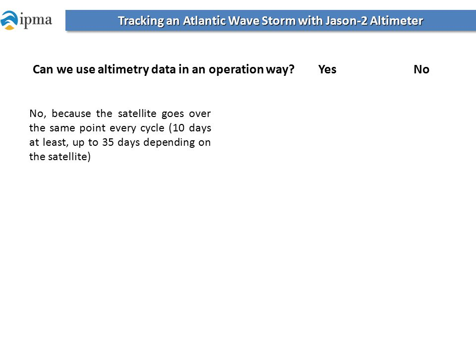 Tracking an Atlantic Wave Storm with Jason-2 Altimeter No, because the satellite goes over the same point every cycle (10 days at least, up to 35 days depending on the satellite) Can we use altimetry data in an operation way.