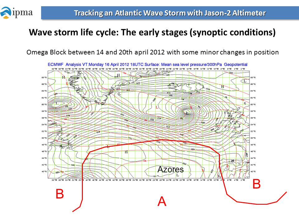 Azores Omega Block between 14 and 20th april 2012 with some minor changes in position B B A Tracking an Atlantic Wave Storm with Jason-2 Altimeter Wave storm life cycle: The early stages (synoptic conditions)