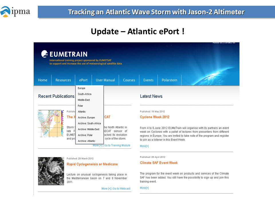 Tracking an Atlantic Wave Storm with Jason-2 Altimeter Update – Atlantic ePort !