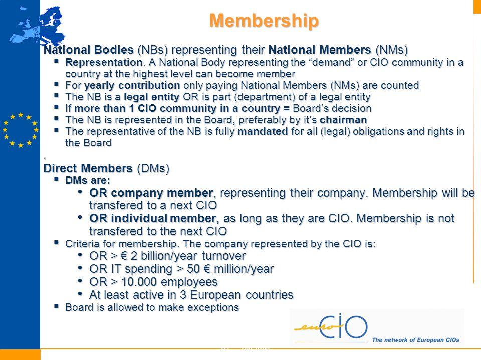 Membership © EuroCIO 2009 6 National Bodies (NBs) representing their National Members (NMs)  Representation.