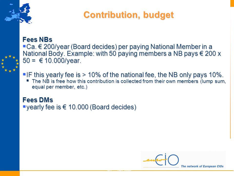 Contribution, budget © EuroCIO 20096 Fees NBs  Ca.