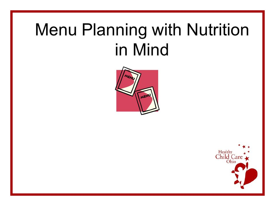 Menu Planning with Nutrition in Mind
