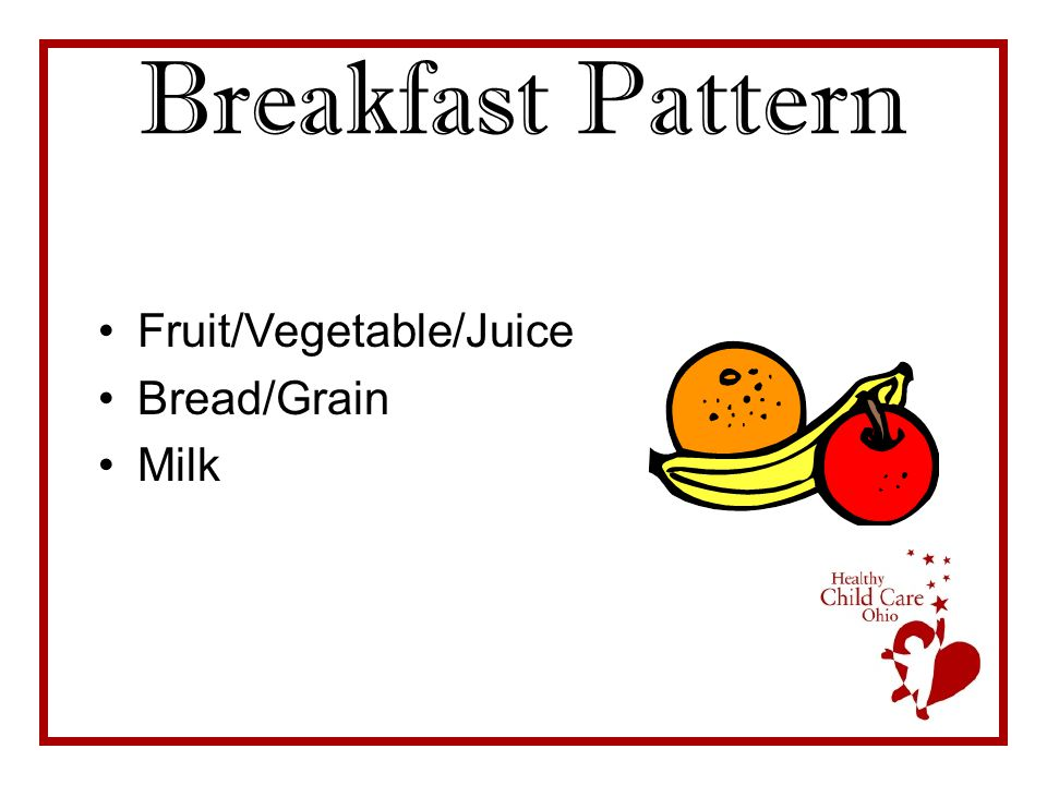 Breakfast Pattern Fruit/Vegetable/Juice Bread/Grain Milk