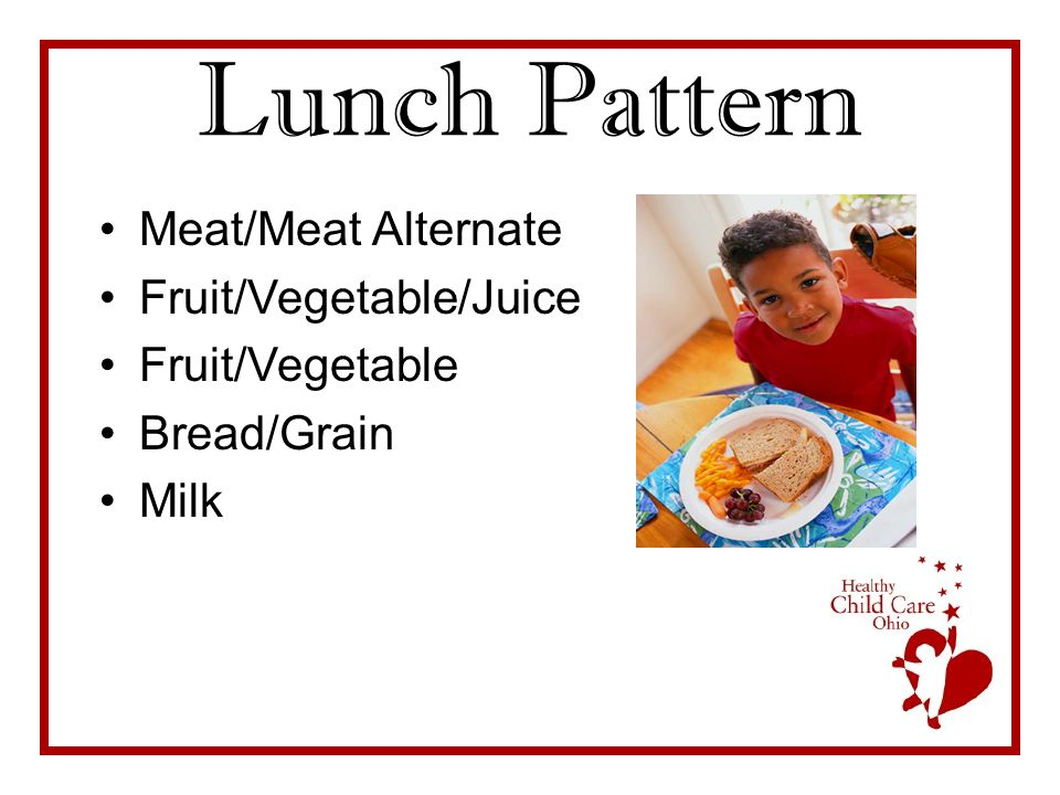 Lunch Pattern Meat/Meat Alternate Fruit/Vegetable/Juice Fruit/Vegetable Bread/Grain Milk