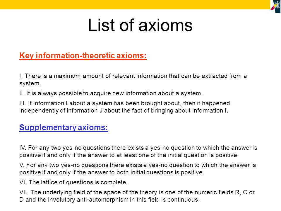 List of axioms Key information-theoretic axioms: I.