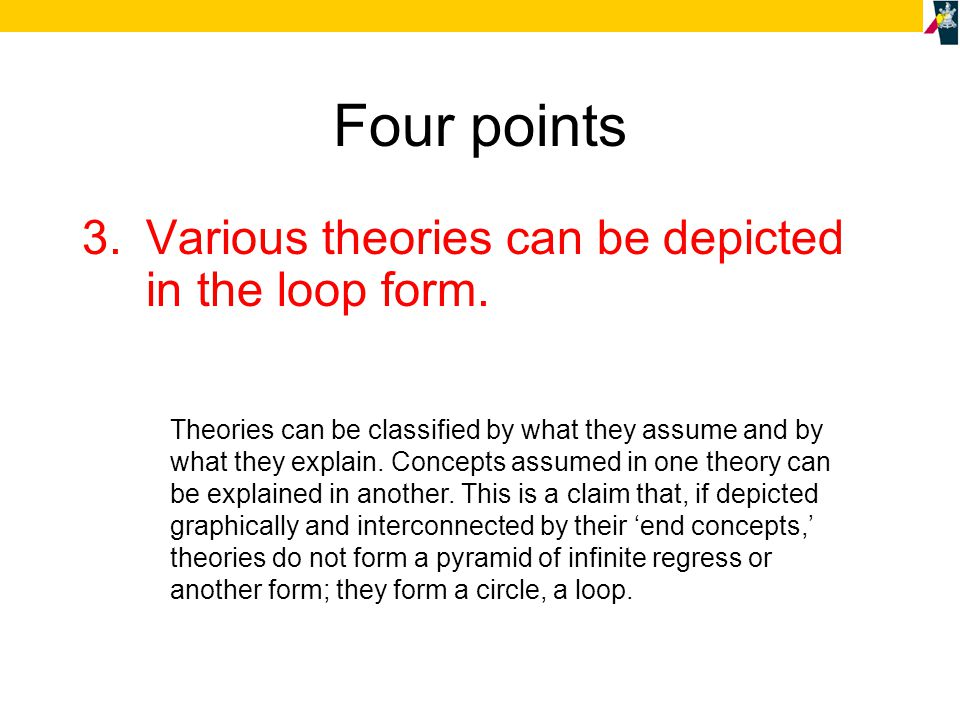Four points 3.The set of all theories can be depicted in the loop form.
