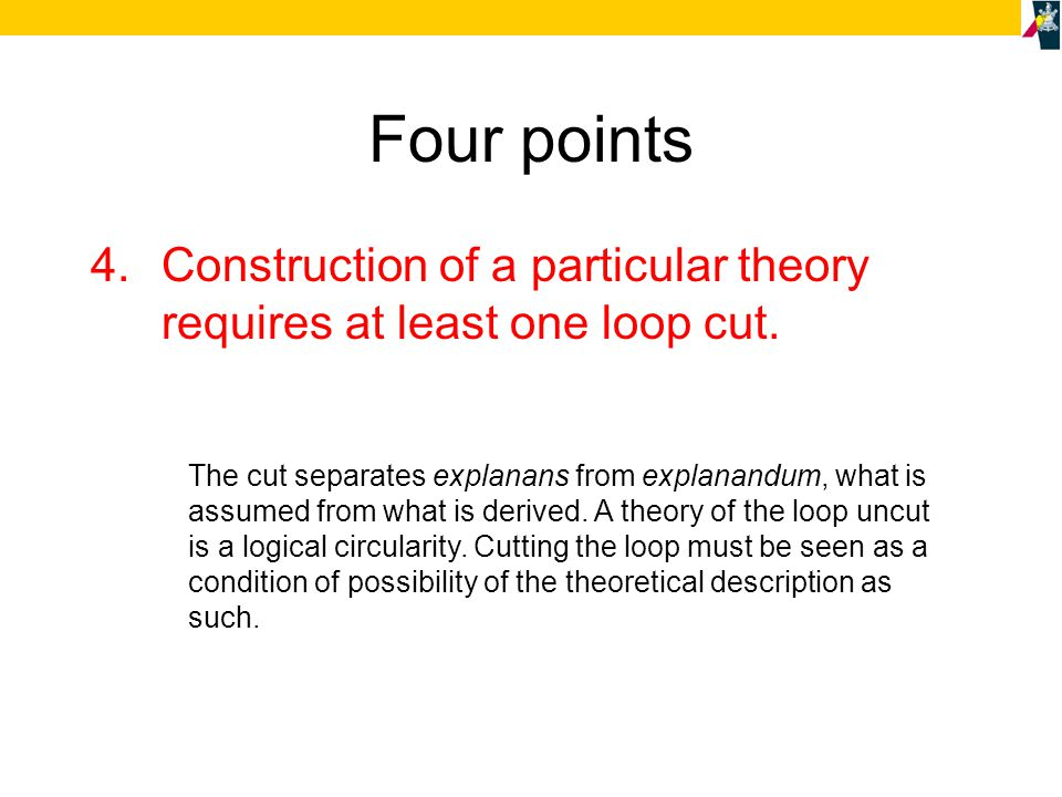 Four points 4.Construction of a particular theory requires at least one loop cut.