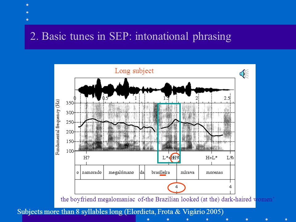 2. Basic tunes in SEP: intonational phrasing Compound IP (Ladd 1992, 1996, Frota 2000, Vigário 2003) IPs: sandhi, final lengthening, nucleus plus a to
