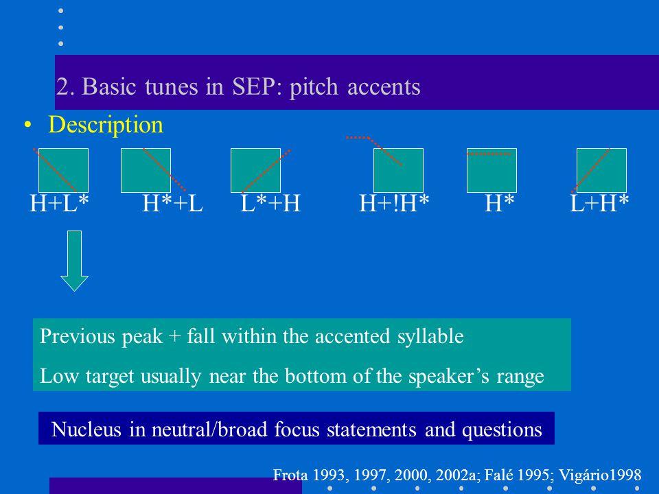 2. Basic tunes in SEP: pitch accents Description H+L* H*+L L*+H H+!H*H* L+H* Three main nuclear accents