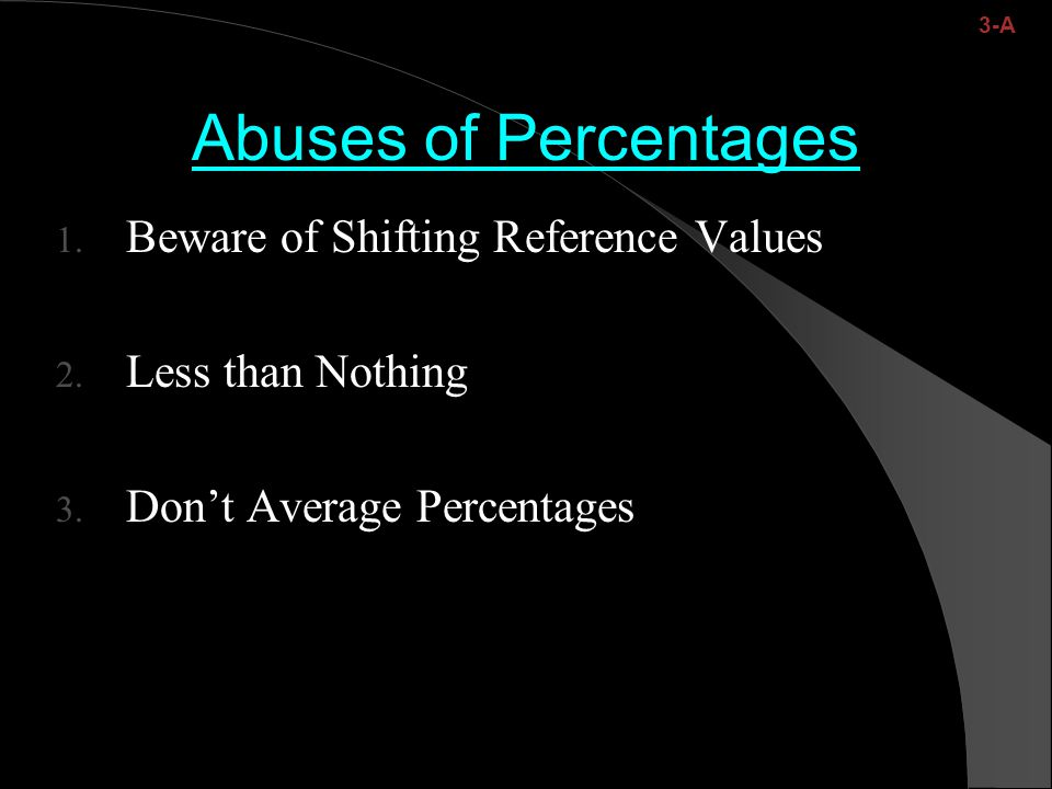 Abuses of Percentages 1. Beware of Shifting Reference Values 2.