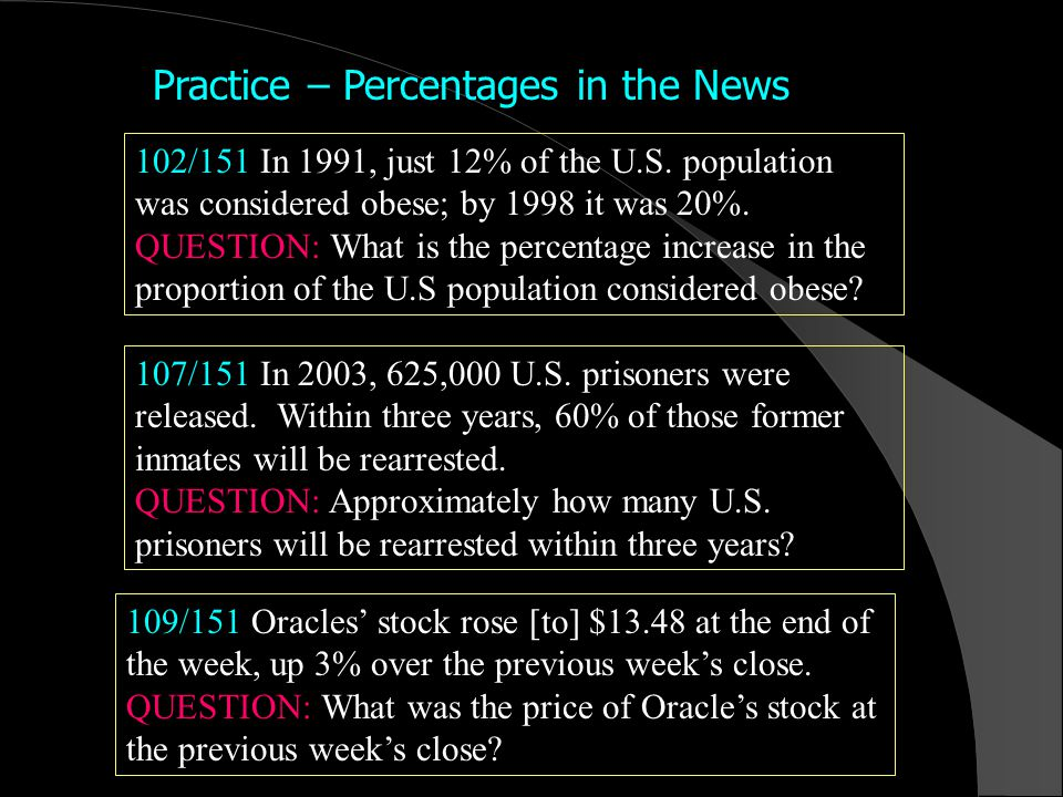 Practice – Percentages in the News 102/151 In 1991, just 12% of the U.S.