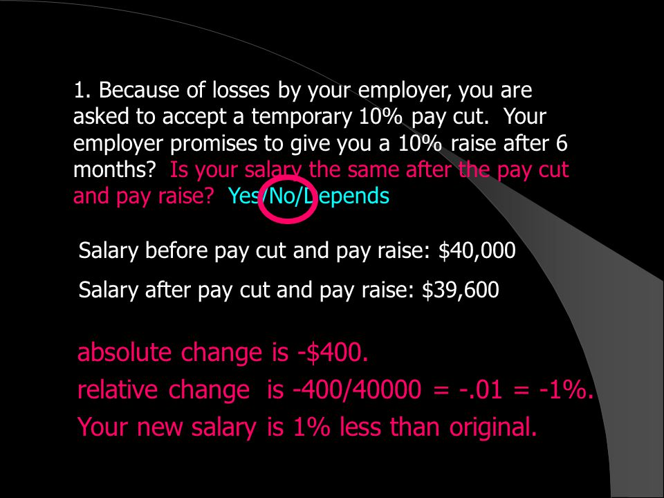 1. Because of losses by your employer, you are asked to accept a temporary 10% pay cut.