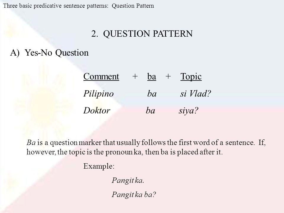 Three basic predicative sentence patterns: Question Pattern 2.